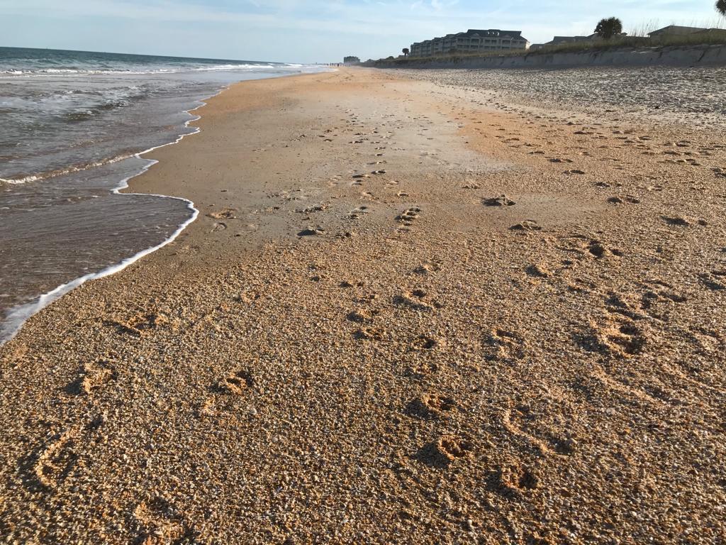 Strand mit Fussabdrücken